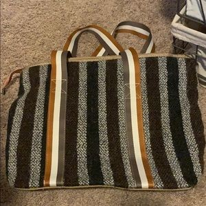 Black, brown and grey striped tote bag.